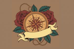 コンパスのタトゥーデザイン