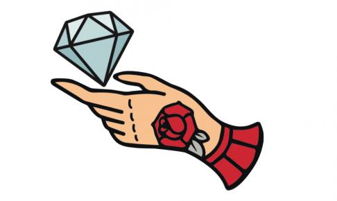 タトゥーの入った手でダイヤモンドを掴んでいるイラスト