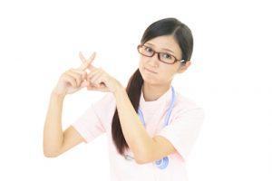 禁止事項を説明する看護婦さん