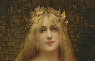 オリーブの冠を被る女性
