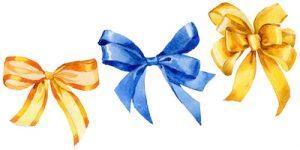 黄色と青色の蝶結びリボン