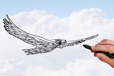 空を飛ぶ鷲のイラスト