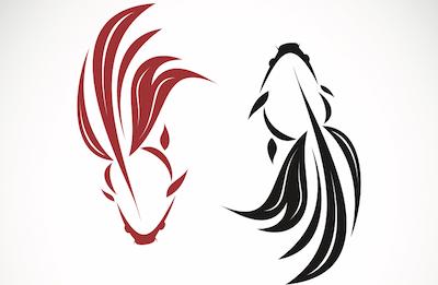 金魚のタトゥーデザイン