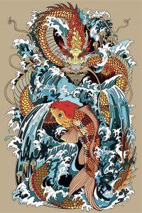 鯉と龍のデザイン