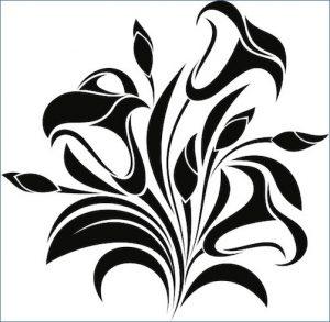 百合のタトゥーデザイン(トライバル)