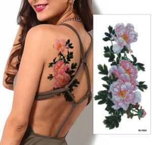 牡丹の花のタトゥーシール