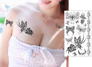 蝶のタトゥーシール(トライバル)